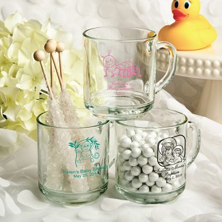 Personalized 10 oz. Glass Handy Mug Baby Shower Favors