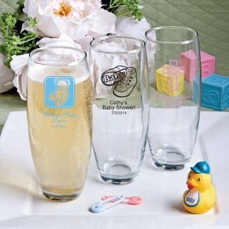 """Silkscreened Glassware Collection"" Stemless Champagne Flute Baby Shower Favors"