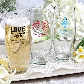 """Silkscreened Glassware Collection"" Stemless Champagne Flute Favors"