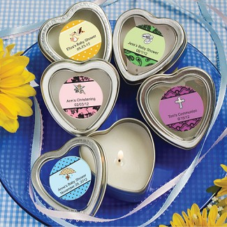 """Personalized Expressions"" Scented Heart Shaped Travel Candles Baby Shower Favors"