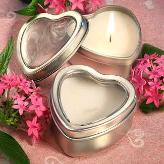 """Light For Love Collection"" Heart Candle Favor Tins"