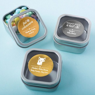 Personalized Metallic Collection Clear Top Mint Tin Baby Shower Favors