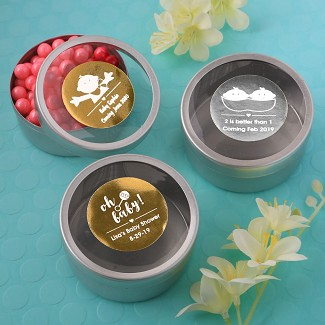 Personalized Metallics Collection Silver Mint Tin with Clear Top Baby Shower Favors