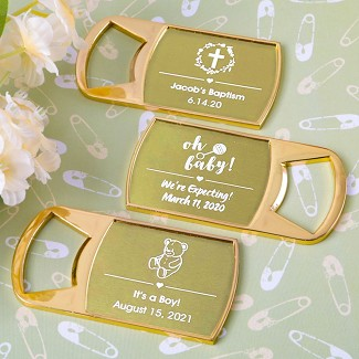 Personalized Metallics Epoxy Dome Gold Metal Bottle Opener Baby Shower Favors