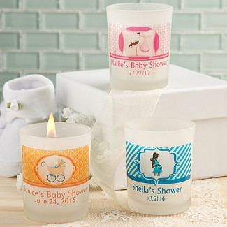 """Clearly Custom"" Personalized Frosted Glass Candle Holder with Wax Baby Shower Favors"