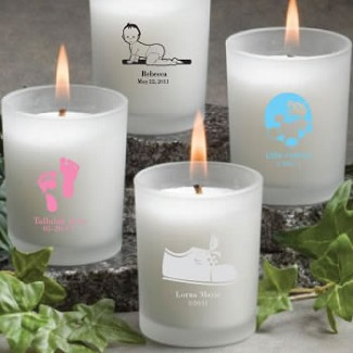 Personalized Frosted Glass Candle Holder With Wax Baby Shower Favors