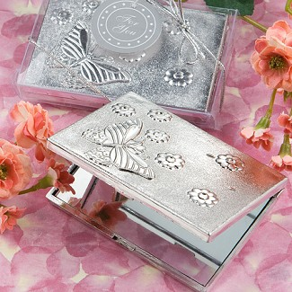 """Elegant Reflections Collection"" Butterfly Design Mirror Compact Favors"