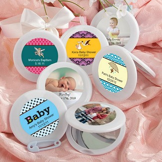Personalized Expressions Collection Mirror Compact Baby Shower Favors