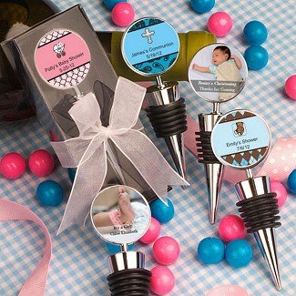 """Personalized Expressions Collection"" Wine Bottle Stopper Baby Shower Favors"