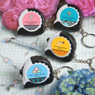 """Personalized Expressions Collection"" Key Chain / Measuring Tape Baby Shower Favors"