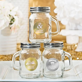 Personalized Metallics Collection Glass Mason Jars with Handle