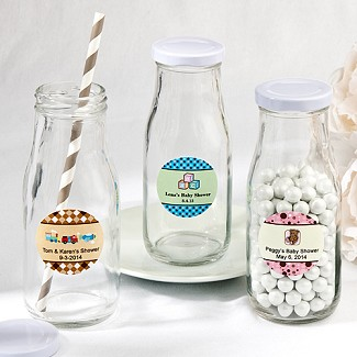 """Design Your Own Collection"" Vintage Style Milk Bottles Baby Shower Favors"