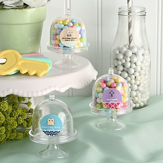 """Design Your Own Collection"" Personalized Mini Cake Stand Plastic Box Baby Shower Favors"