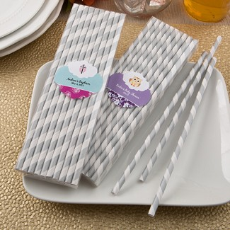 Personalized Matte Silver and White Stripe Design Paper Straws Baby Shower Favors