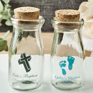 Personalized Vintage Milk Bottles with Round Cork Top Baby Shower Favors