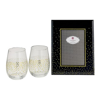 Golden Splendor Stemless Wine / Champagne Toasting Glass Set with Deluxe Picture Frame