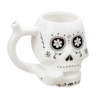White Sugar Skull Roast and Toast Small Mug