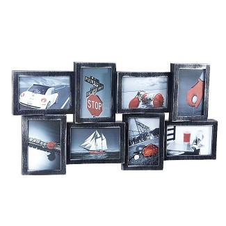 Picture Frame Wall Collage - 8 Photo Openings - Silver with Black