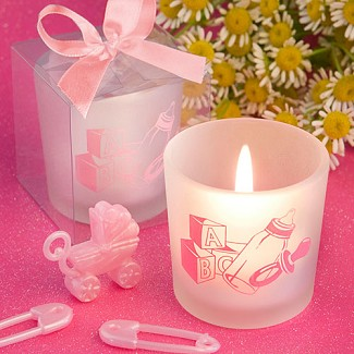 """Favor Saver Collection"" Baby Girl Themed Candle Favors"