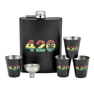 420 Rasta Flask Set with Shot Glasses and Funnel