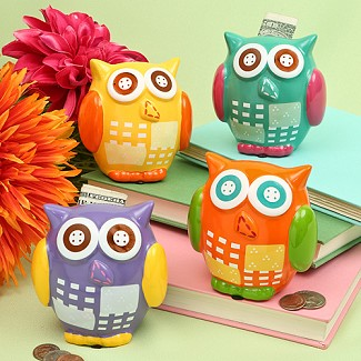 Owl Design Bank - Four Assorted Colors