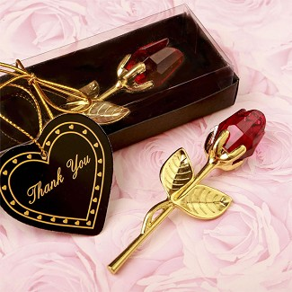 Choice Crystal Gold Long Stem Red Rose