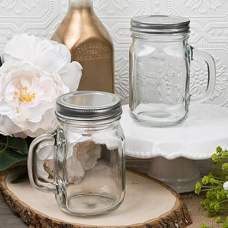 """Perfectly Plain"" 12 ounce Glass Mason Jar with Handle"