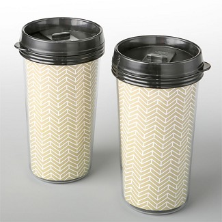 Double Wall Insulated Coffee Cup with Gold Chevron Design