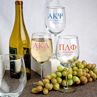 Personalized 12 oz. Wine Goblet Favors (Greek Designs)