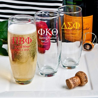 """Silkscreened Glassware Collection"" Stemless Champagne Flute Favors (Greek Designs)"