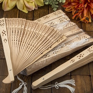 Intricately Carved Sandalwood Fan Favors