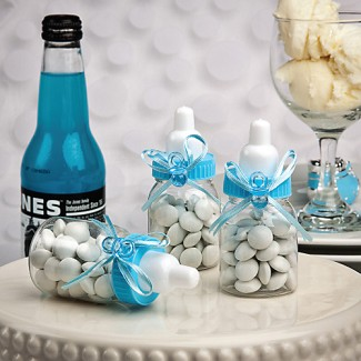 """Perfectly Plain Collection"" Blue Baby Bottle Favors"