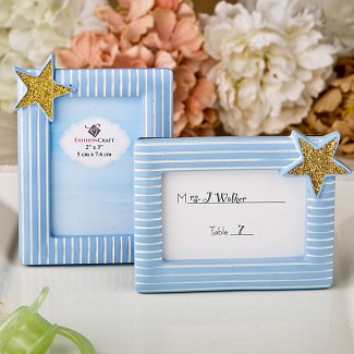 Blue and Gold Photo Frame / Placecard Frame