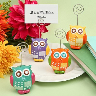 Hand Painted Ceramic Owl Design Place Card / Photo Holders