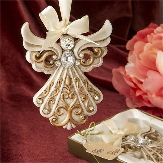 Antique Ivory Angel Ornament with Matte Gold Filigree Detailing