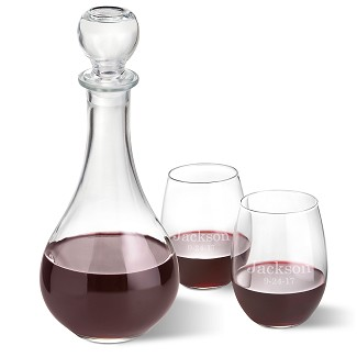 Personalized Bormioli Rocco Loto Wine Decanter with Set of 2 Stemless Wine Glasses