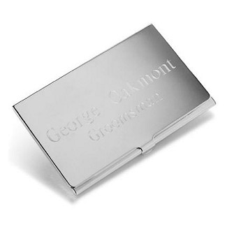 Personalized Silver Plated Business Card Case