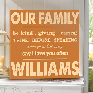 Personalized Rules of Our Family Canvas Print