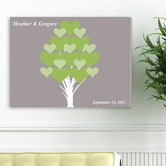 Personalized Blooming Hearts Signature Canvas