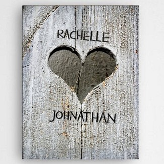 Personalized Hand Carved Heart Canvas Print