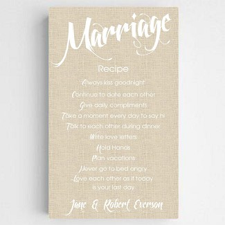 Personalized Marriage Recipe Canvas Sign