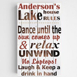 Personalized Lake House Rules Canvas Sign