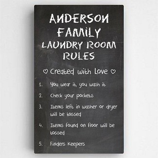 Personalized Laundry Room Canvas Sign