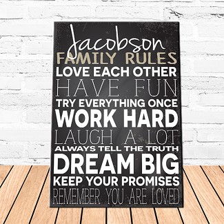 Personalized Family Love Rules Canvas Sign