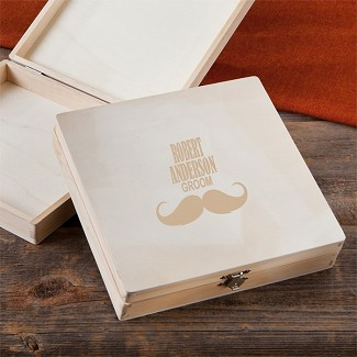 Personalized Mustache Wooden Keepsake or Cigar Box