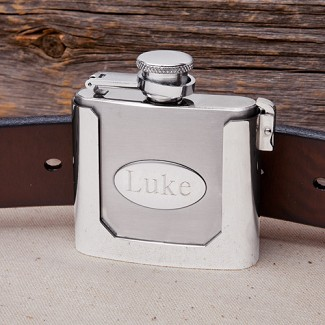 Personalized 2 oz. Stainless Steel Belt Buckle Flask