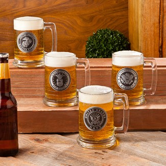 Personalized Military Emblem Glass Beer Mug