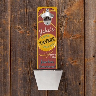 Personalized Free Beer Tomorrow Wall Mounted Bottle Opener & Cap Catcher