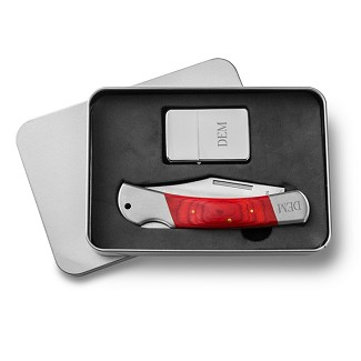 Personalized Yukon Lock Back Knife and Lighter Gift Set