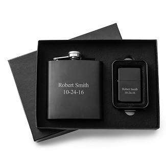 Personalized Black Matte 6oz Flask and Lighter Gift Set